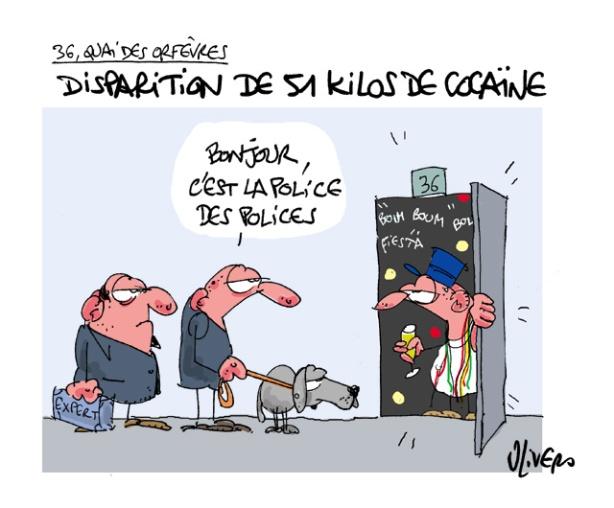 36, quai des orfèvres, cocaïne, disparition, polices des polices, enquêtes, stupéfiant, stup, dessin, caricature