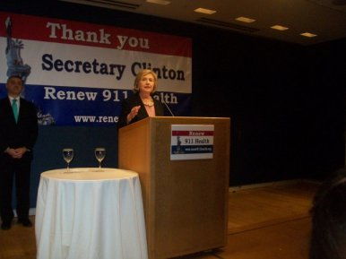 Hillary Clinton addressed the crowd. (Photo: Ross Barkan)