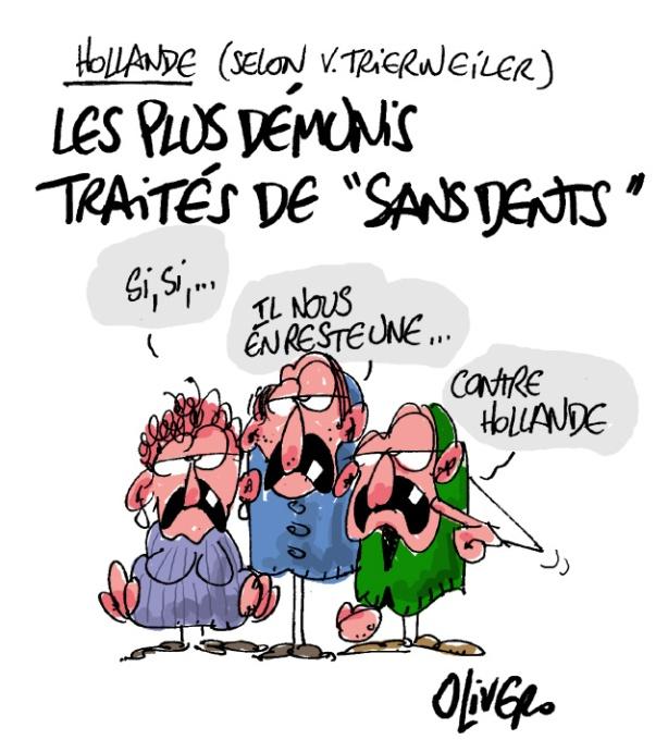 sans dents, Hollande, Trierweiler, livre, démunis, Olivero, dessin, caricature, humour