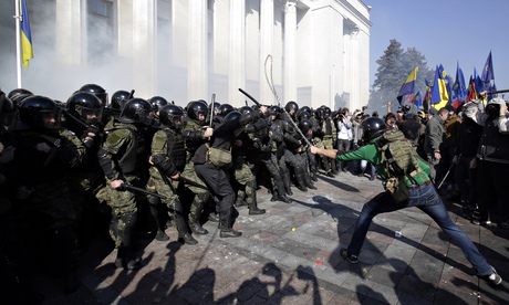 Demonstrators and police outside Kiev parliament