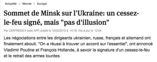 Accord de Minsk Ukraine