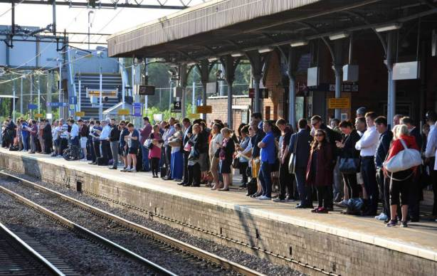 Commuters waiting for a train on the c2c line at Upminster station, London, as commuters face travel misery trying to get to work because of a strike which has brought London Underground to a standstill. PRESS ASSOCIATION Photo. Picture date: Thursday July 9, 2015. Thousands of workers launched a 24-hour walkout last night which will disrupt services until Friday morning. See PA story INDUSTRY Tube. Photo credit should read: Nick Ansell/PA Wire